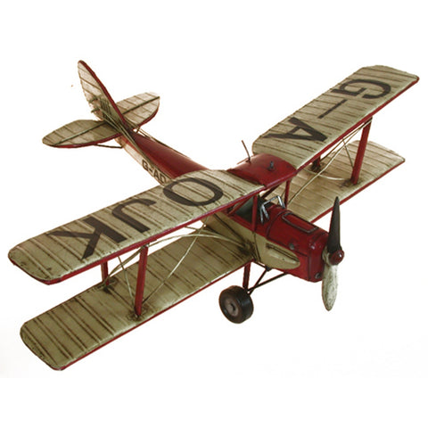 Boyle-Red And White Tiger Moth Tin Airplane Model-30280-The Best Handy Crafts