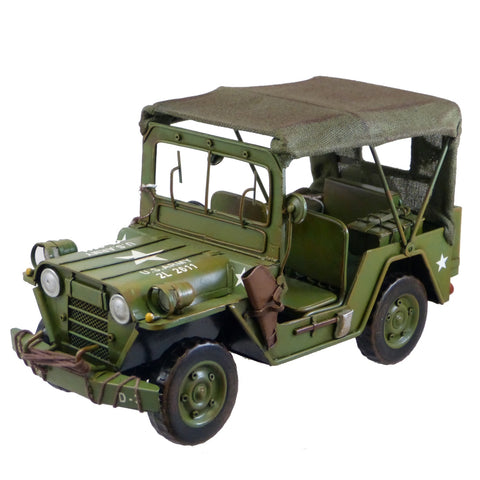Boyle-Green Army Jeep Model With Canopy-30639-The Best Handy Crafts