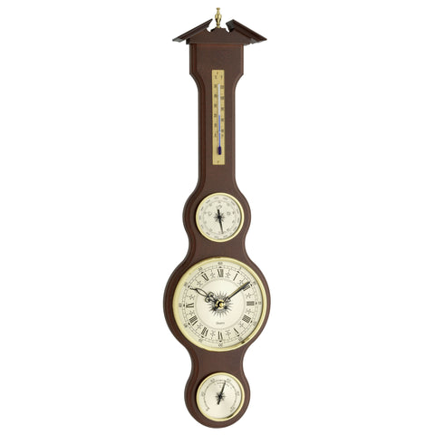 TFA Dostmann-Banjo Weather Station With Clock in Mahogany-The Best Handy Crafts