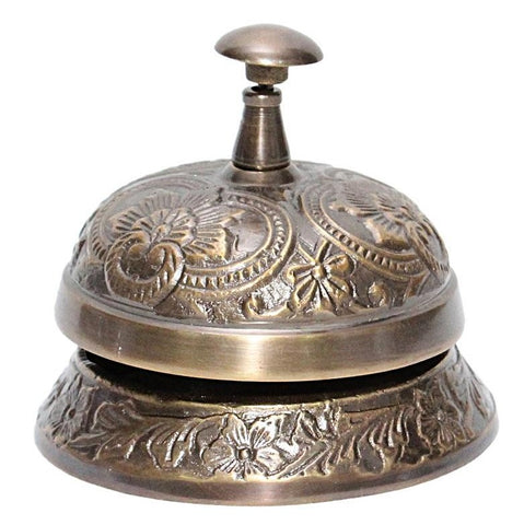 Solid Brass Desk Bell in Antique Finish With Floral Design