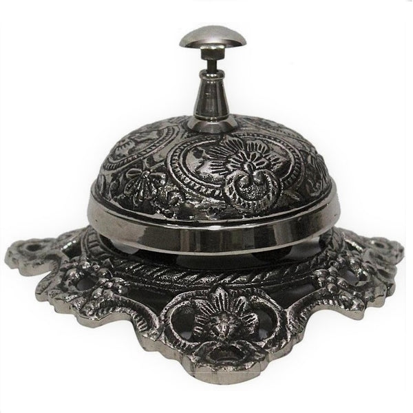 Solid Brass Desk Bell in Antique Nickle Finish With Embossed Ornate Design-The Best Handy Crafts