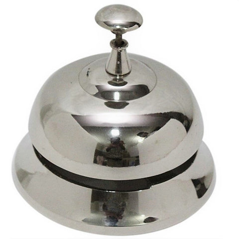 Solid Brass Desk Bell In Polished Chrome