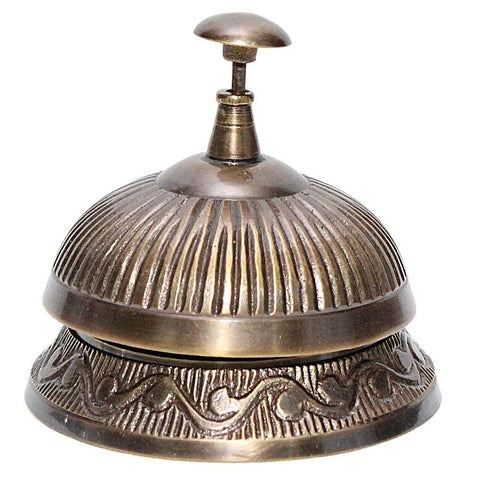 Solid Brass Antique Finish Desk Bell With Straight Lines