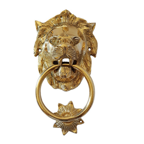 Lion Head Door Knocker In Polished Brass