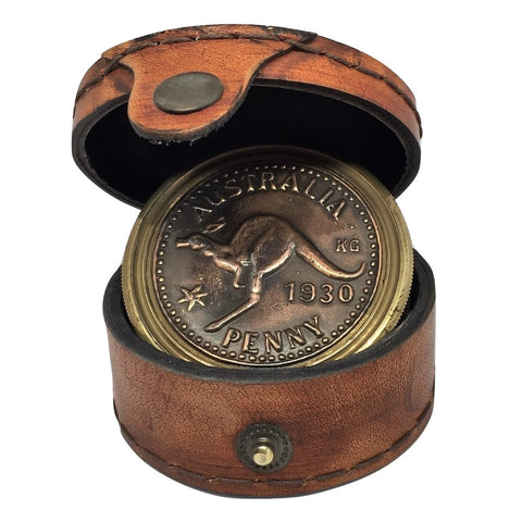 Australian Penny 1930s Themed Compass in Pouch