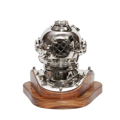 Small Chrome Deep Sea Diver Helmet on Wooden Base TI-N200S