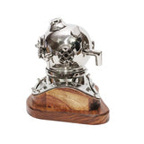 Small Chrome Deep Sea Diver Helmet on Wooden Base