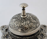 Solid Brass Desk Bell in Antique Nickle Finish With Embossed Ornate Design