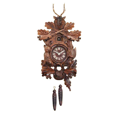 Black Forest Cuckoo Clock with Leaves & Deer Scene-1 Day K722/26