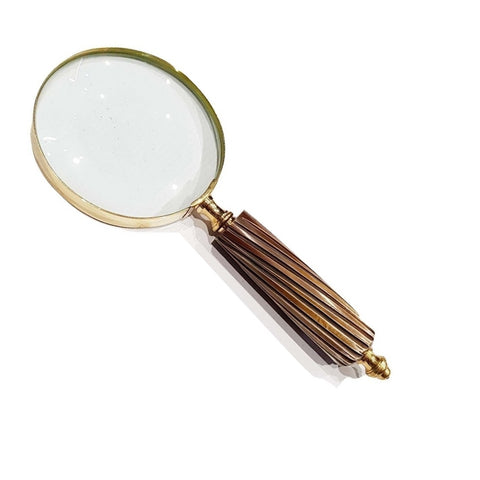 Wooden Handle Magnifying Glass With Diagonal Lines TI-MG06