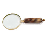 Best Handy Crafts - Wooden Handle Magnifying Glass With Diagonal Liness
