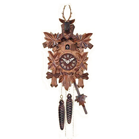 Black Forest Quartz Cuckoo Clock with Leaves & Deer Head 371Q/22