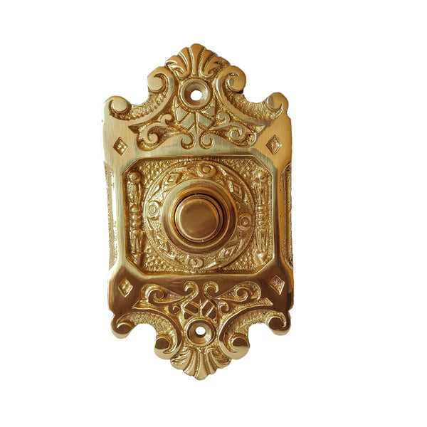 Single Push Button Art Nouveau Door Bell In Polished Brass-The Best Handy Crafts