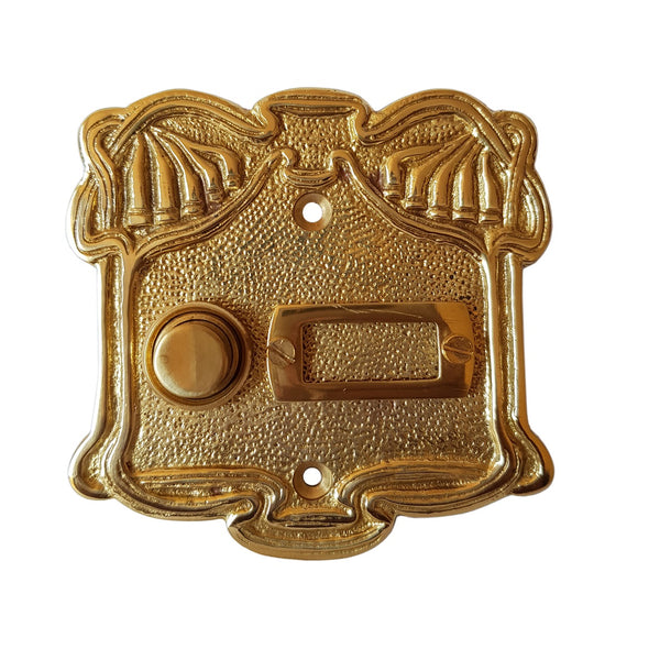 Single Button Art Nouveau Door Bell With Name Plate In Polished Brass-The Best Handy Crafts