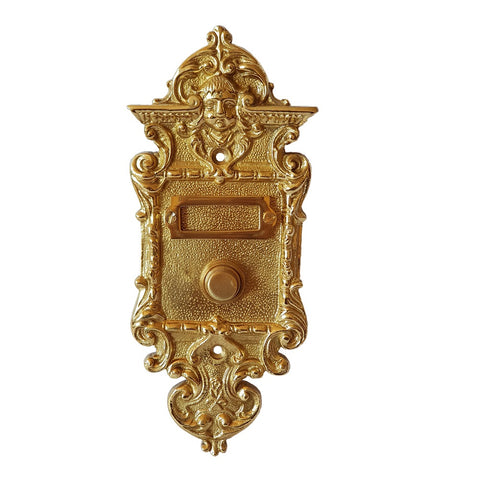 Single Button Art Nouveau Door Bell With Man's Face In Polished Brass-The Best Handy Crafts