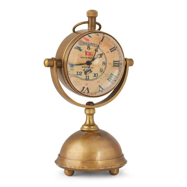 Small Brass Antique Finish Style Table Clock
