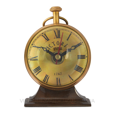 Vintage Nautical-Australian 1930's Penny Brass Antique Finish Table Clock-TC101-The Best Handy Crafts