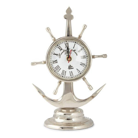 Ship Wheel & Anchor Style Table Clock