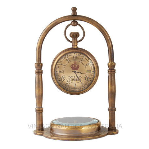 Vintage Nautical-Hanging Compass Base Brass Antique Finish Table Clock-TC103-The Best Handy Crafts
