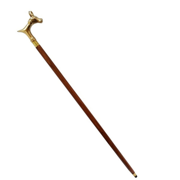 Treasure Imports Natural Wood Walking Stick With Bull Handle TIW006