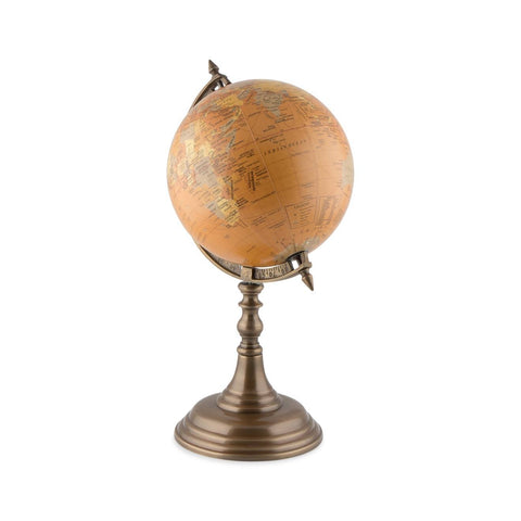 Vintage Nautical-Beige Colour Ocean Globe on Wooden Stand-WG100-The Best Handy Crafts