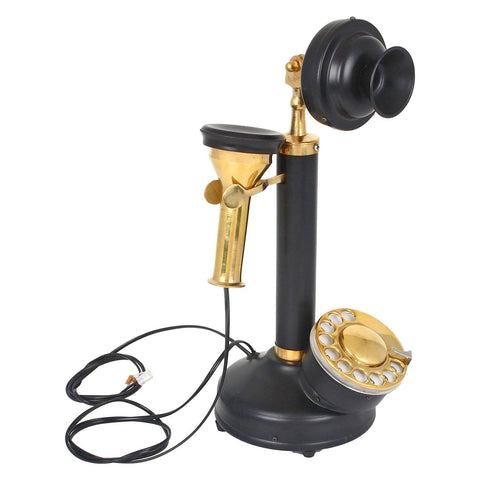 Treasure Imports Vintage Style Black Candle Stick Telephone TI-G120