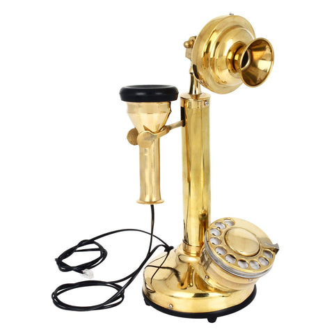 Treasure Imports Vintage Style Brass Candle Stick Telephone TI-G121