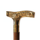 Natural Wood Walking Stick With Etched Handles