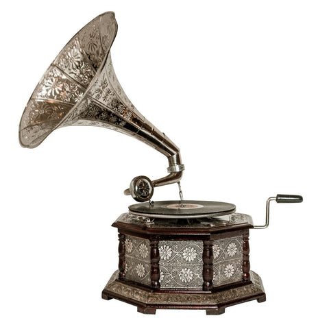 Treasure Imports' Octagonal Etched Silver Horn Gramophone TI-G111