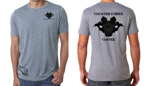 Counter Strike Coffee Skull Operator Tee Shirt with Circle Game Logo