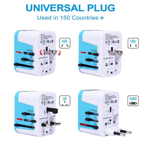 Worldwide Travel Adaptor (4 USB) - Quip Travel - Budget Travel Gear for Backpackers