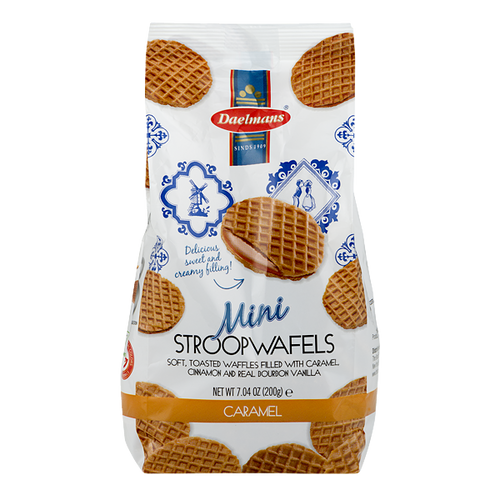 Dalemans Dutch Mini Caramel Stroopwafels Wafer Cello Bag 7.04 Oz.
