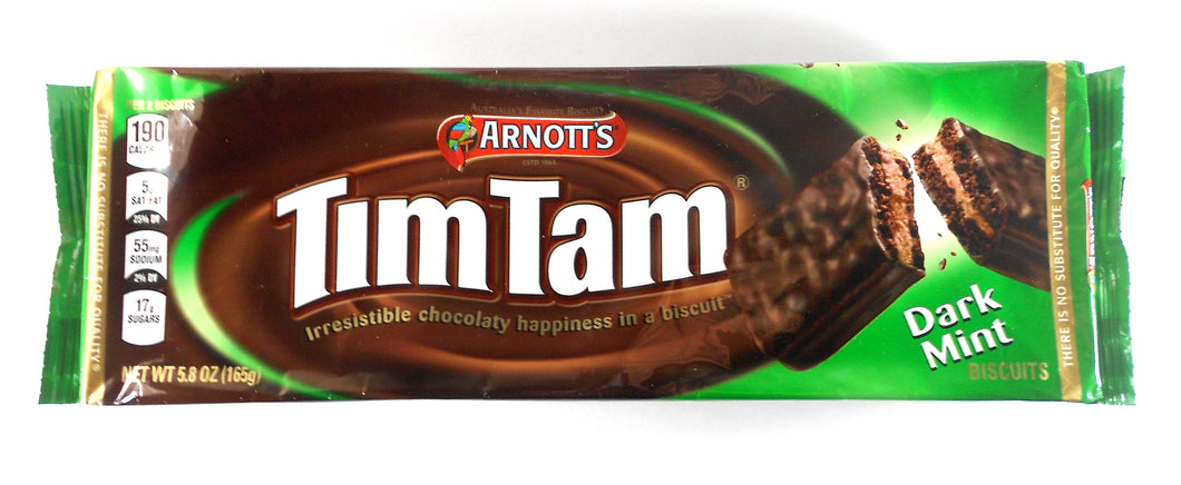 Australian Tim Tam Dark Mint Chocolate Biscuits by Arnott's 7 oz.