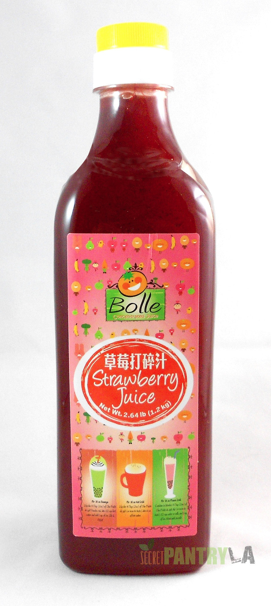 Bolle Premium Strawberry Fruit Syrup for Bubble Tea, Cocktail, Drinks 42.24 Fl. Oz.