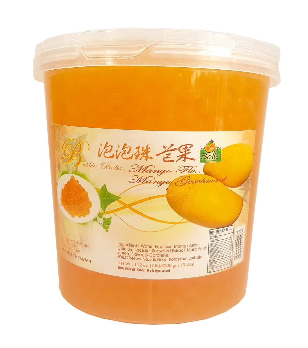 Bolle MANGO Popping Boba Pearls 112 Oz./7 lbs.  Restaurant Size