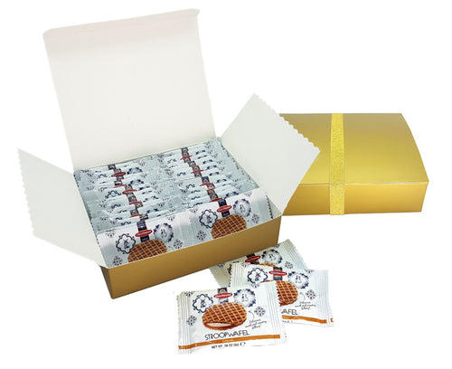 Daelmans Mini Caramel Stroopwafels Single Pack 24 Pieces in Gold Gift Box