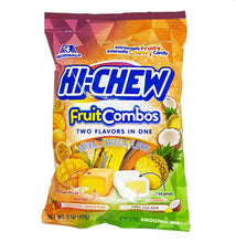Hi-Chew Fruit Combos (Tropical Smoothie & Piña Colada) 2 Flavors in One Chewy Candy Peg Bag by Morinaga 3 Oz.