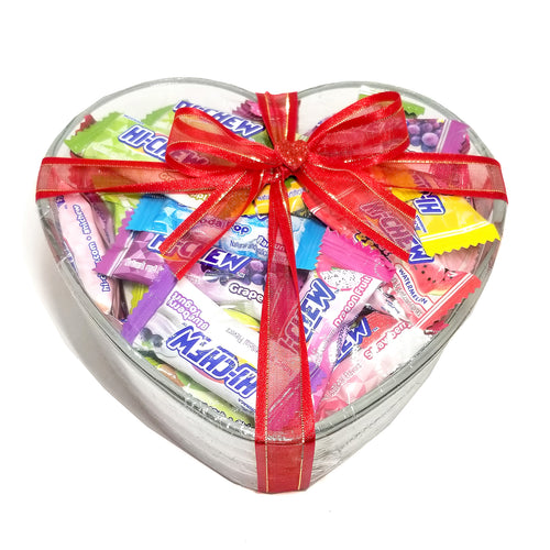 Hi-Chew Valentine's Day Collection Chewy Fruit Candy by Morinaga Assorted Flavors in Heart Shaped Glass Bowl 48-Count