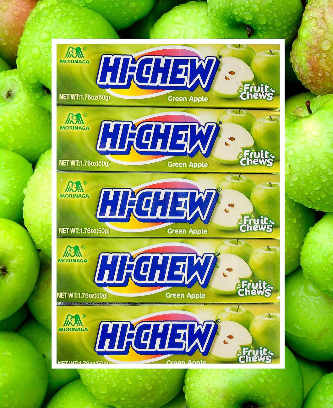 Hi-Chew Stick Green Apple Chewy Fruit Candy by Morinaga (Pack of 10)