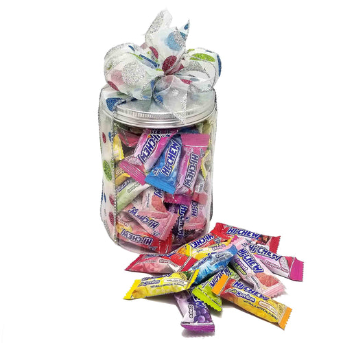 Hi-Chew Special Collection Assorted Flavors Mixed Chewy Fruit Candy Individually Wrapped by Morinaga Gift Wrapped Canister 60-Count