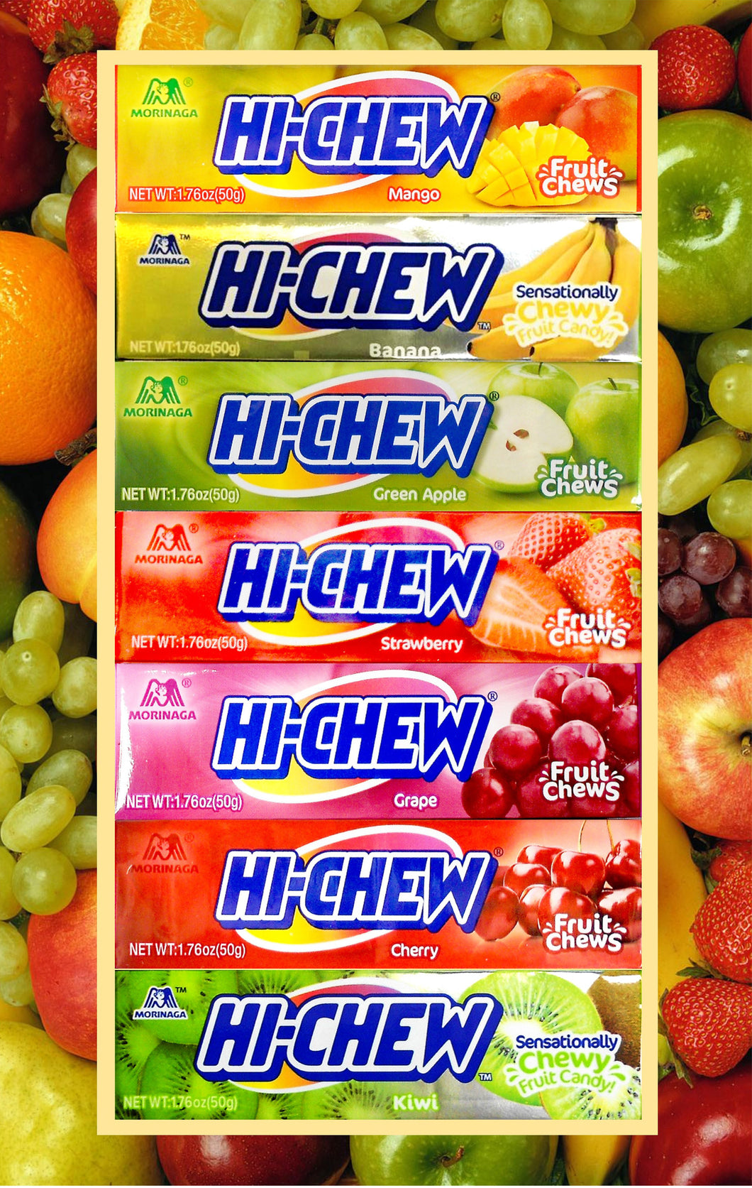 Hi-Chew Stick Chewy Fruit Candy 7 Assorted Flavors (Pack of 7)