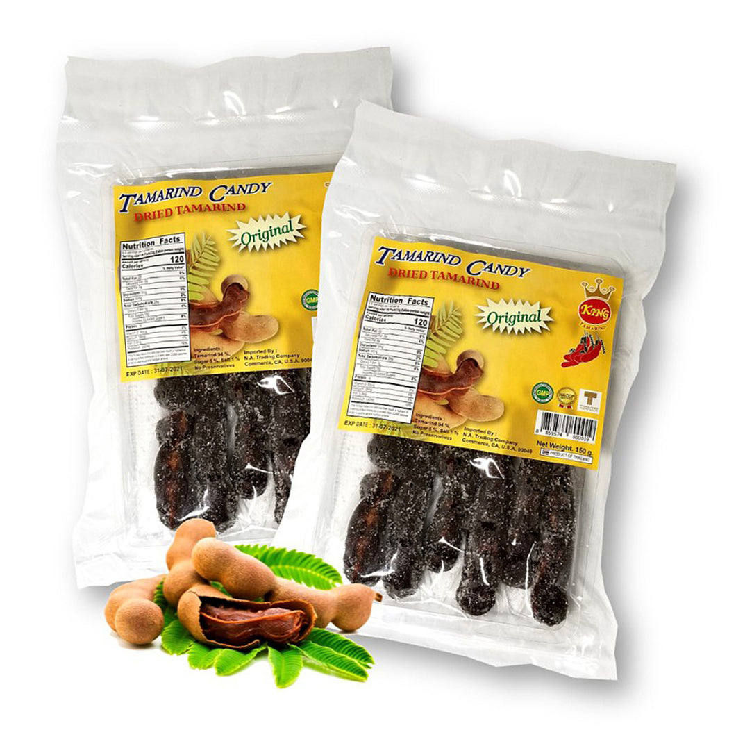 King Tamarind Thai Sweet Dried Tamarind Candy with Seeds 150 g. (Pack of 2)