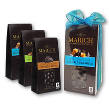 Marich Chocolates Trio Gift Set 3 Flavors (Dark Chocolate Sea Salt Caramels, Dark Chocolate Espresso Beans, Milk Chocolate Toffee Almonds) Gable Box 4.25 Oz. Each (Pack of 3)