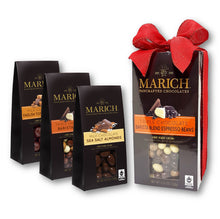 Marich Chocolates Trio Gift Set 3 Flavors (Milk Chocolate Sea Salt Almonds, Triple Chocolate Barista Blend, Milk Chocolate English Toffee Caramels) Gable Box 4.25 Oz. Each (Pack of 3)