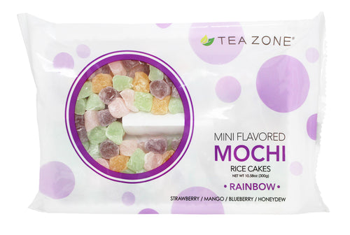 Tea Zone Mini Mochi Rice Cakes RAINBOW Ice Cream, Frozen Yogurt, Desserts Topping 10.58 Oz.