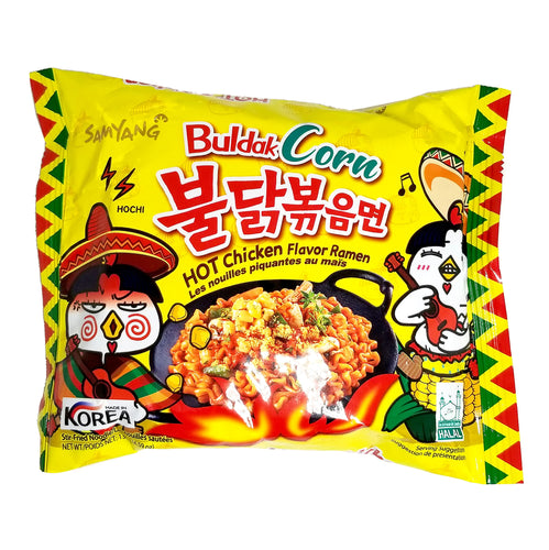 Samyang Buldak Corn Hot Chicken Ramen Spicy Stir-Fried Noodle 4.59 Oz (Pack of 2)