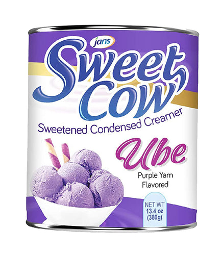 Jans Sweet Cow Ube Purple Yam Sweetened Condensed Milk Creamer 13.4 Oz. Factory Case (Pack of 24)
