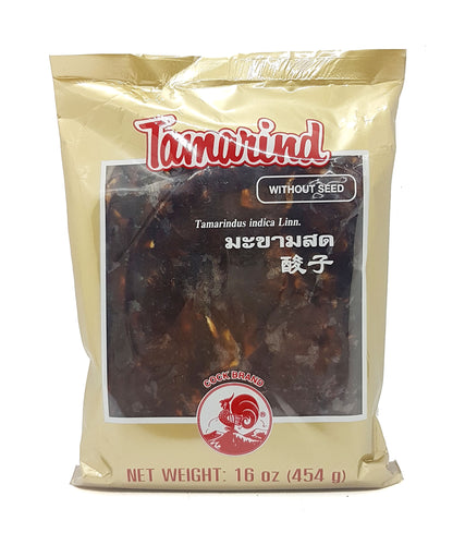 Thai Wet Sour Tamarind Pulp Block Seedless by Cock 16 Oz. (Pack of 2)