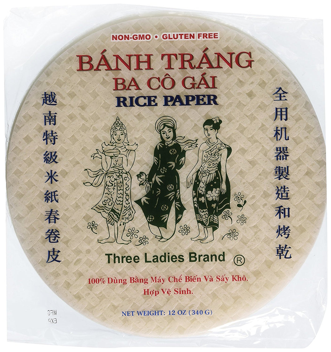 Vietnamese Spring Roll Rice Paper Wrappers by Three Ladies 12 Oz. (Pack of 2)