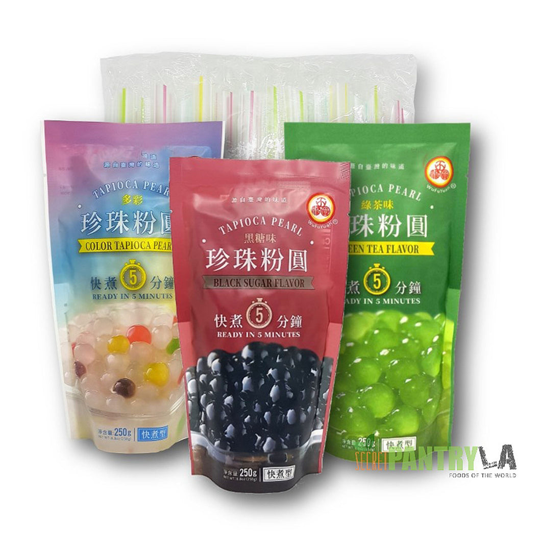 WuFuYuan Boba Tapioca Pearls 3 Variety Pack (Black Sugar, Color, Green Tea) 8.8 Oz each with 25 Boba Straws Individually Wrapped